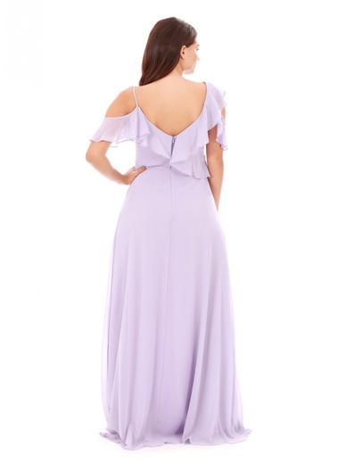 Pierre Cardin Krep Büzgülü Uzun Abiye Elbise Lila